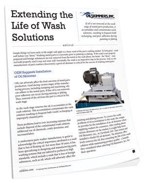 Extending the Life of Wash Solutions